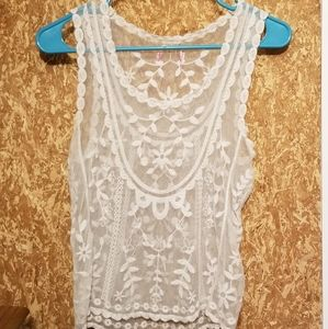 Tops - Sheer embroidered tank top